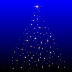 Weihnachten - Goldener Tannebaum abstrakt auf blauem Hintergrund