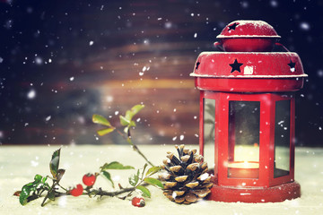 Christmas card with red vintage Christmas lantern