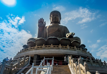 Beautiful huge buddha structure, with a blue sky
