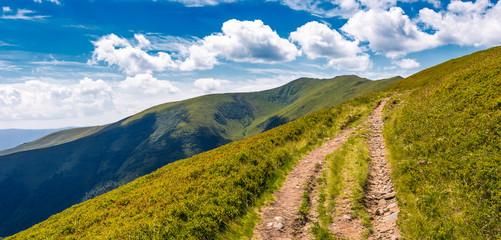 footpath through grassy mountain ridge