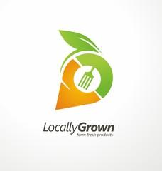 Logo design symbol for locally grown farm fresh products