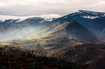 fog over the hillside of mountain with snowy top