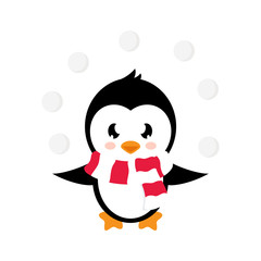cartoon cute penguin with snowball on a white background