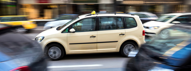 german taxi cab speeding in the city