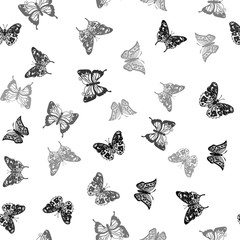 Repeating white-black pattern with silhouettes butterflies (vector)
