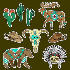 Set of western patches elements. Set of stickers, pins, patches and handwritten notes collection in cartoon 80s-90s comic style.Vector stikers kit