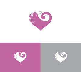 Dove logo in a shape of heart