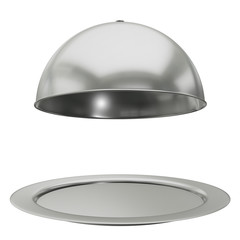 Restaurant cloche on plate open. 3d render isolated on white