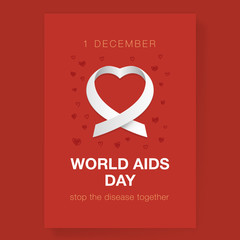 Illustration in the form of white ribbons on a red background for a day of struggle against AIDS.