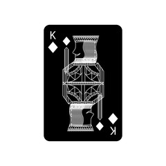 king of diamonds or tiles french playing cards related icon icon