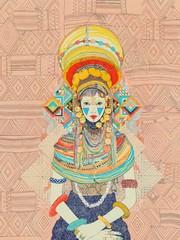 Beautiful Spiritual Tribal Goddess Woman Female Seated Meditating