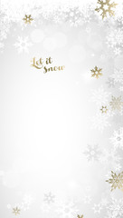 Christmas light background with white and golden snowflakes.