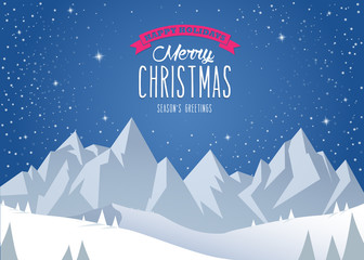Winter mountain landscape scenery and Merry Christmas text with pine trees and stars.