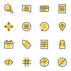 Vector Illustration Of 16 App Outline Icons. Editable Set Of Magnifier, Option, Lattice And Other Elements.