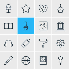 Vector Illustration Of 16 Hobby Outline Icons. Editable Set Of Learning, Brush, Arabica Bean And Other Elements.