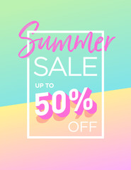 Summer sale background design with trendy colours. Vector EPS 10. Template for banners, newsletters, advertising, invitation, brochure, flyers, websites, voucher discount.
