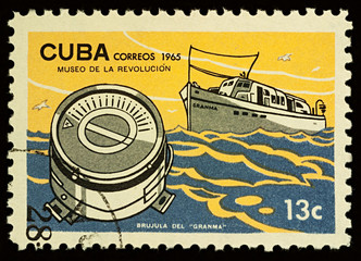 Cuban ship Granma on postage stamp