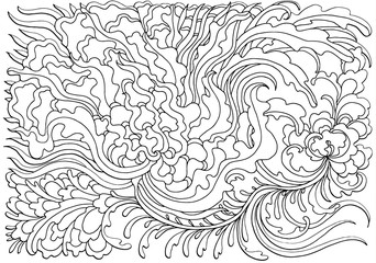 Black And White Doodle Vector Illustration Coloring Book For Adult