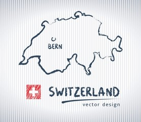 Switzerland national vector drawing map on white background