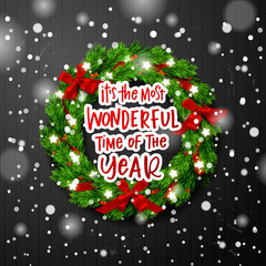 """Christmas greeting card. Xmas vector background. Hand drawn calligraphy. concept handwritten  """" it's the most wonderful time of the year """""""