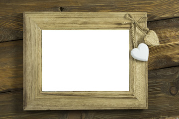 Photo Frame on Old Wooden Wall