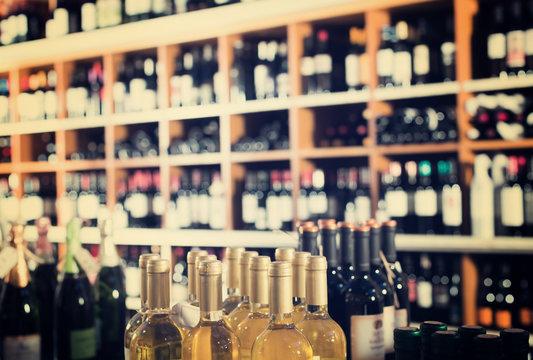 assortment of wine bottles.