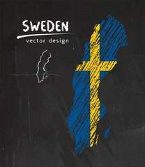 Sweden map with flag inside on the blackboard. Chalk sketch vector illustration