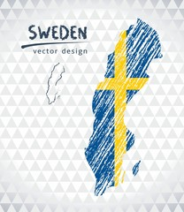Map of Sweden with hand drawn sketch map inside. Vector illustration
