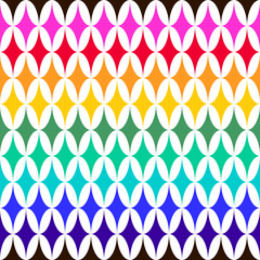 Foto op Canvas ZigZag Abstract vector seamless pattern with sparkles on white background. Flat illustration of rainbow flashes. Color image with geometric figures. Hipster filing. Beautiful composition. Cute print.