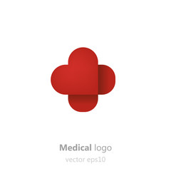 Concept Medical logo. Adhesive patchin the form of heart. Logotype for clinic, hospital or doctor