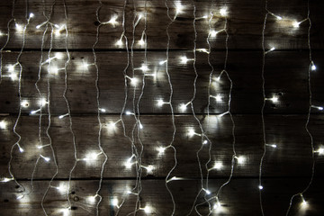 Merry Christmas background. Christmas decorations with traditional ornaments and atmospheric light.