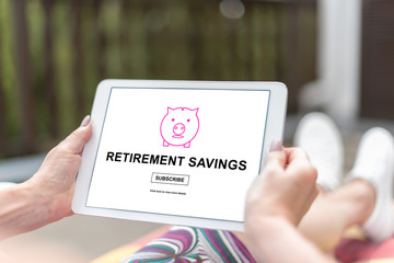 Retirement savings concept on a tablet