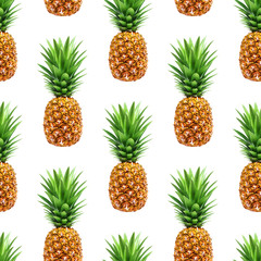 Pineapple seamless pattern isolated on white background