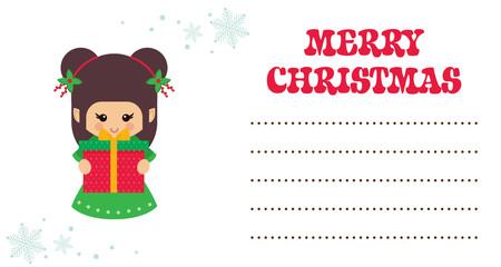 cartoon cute christmas elf with gift christmas card