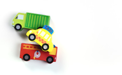 Transportation block toy car and truck fire truck on white background