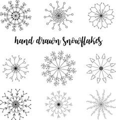 beautiful hand drawn snowflakes