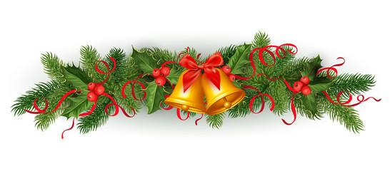 vector christmas holly spruce tree garland