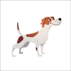 Cheerful dog has cracked on a white background.