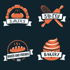 Set of vector logotypes elements, labels, badges and silhouettes for bakery