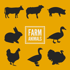 Farm animals silhouettes collection isolated on yellow vector
