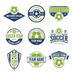Collection of white, green and blue Vector Soccer logos and insignias