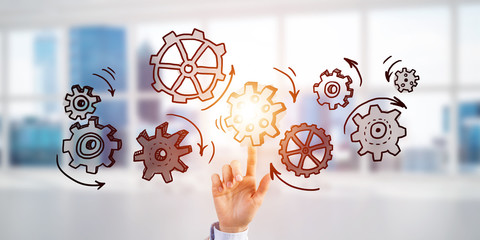 Teamwork concept and choosing gesture of businessperson in elegant modern interior