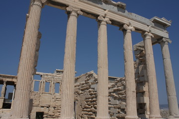 Photo of iconic Erechtheion with famous Caryatids, Acropolis hill, Athens historic center, Attica, Greece