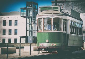 Famous Lisbon tram on the street.