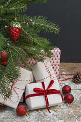 Christmas holiday background. Gifts under christmas tree.