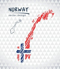 Norway vector map with flag inside isolated on a white background. Sketch chalk hand drawn illustration