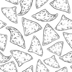 Nachos drawing. Seamless pattern. Traditional mexican food vector background.