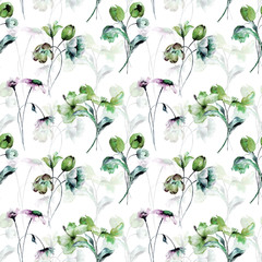 Seamless pattern with spring flowers