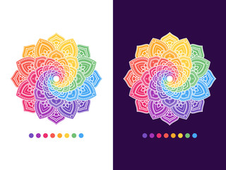 Flower Ornamental Mandala. Round Oriental pattern