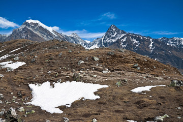 Mountain landscape. Trek to Everest base camp. Himalayas. Nepal